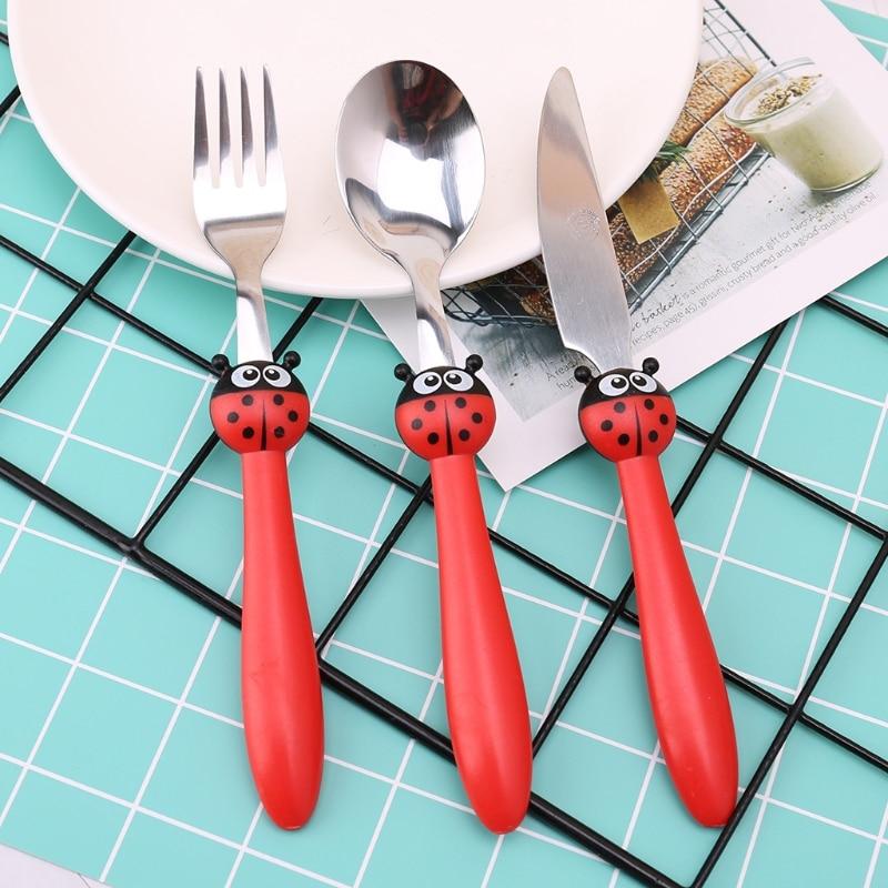 1 Set Kids Tableware Children Feeding Spoon Fork Knife Cartoon Stainless Steel