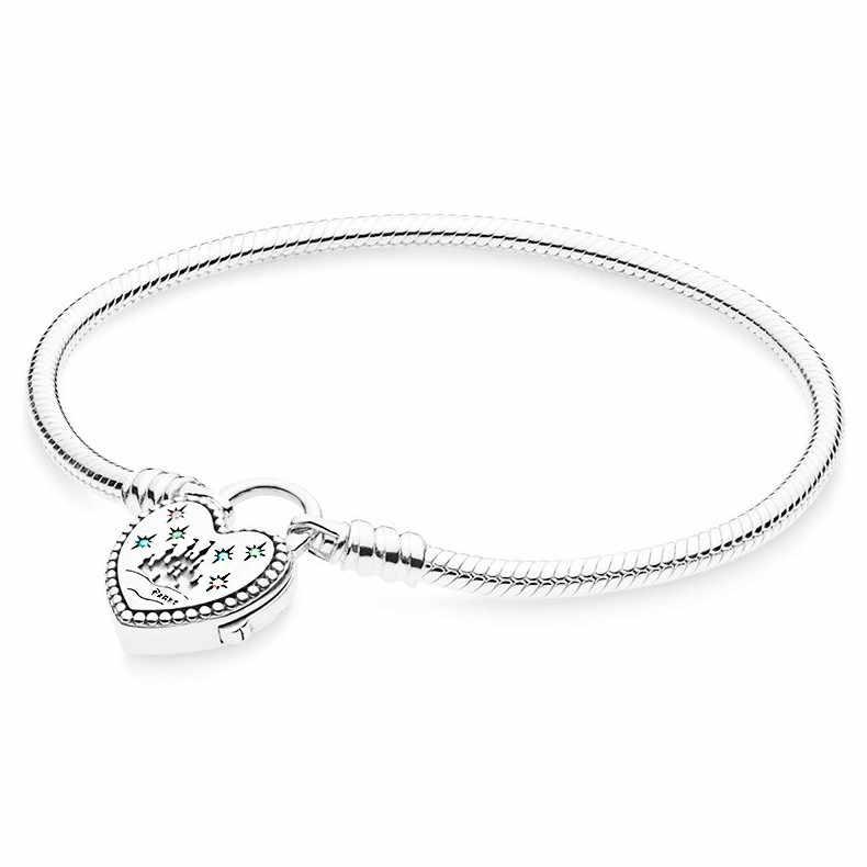 Original 925 Sterling Silverสร้อยข้อมือWorld Park Castlel Loveหัวใจงูกำไลข้อมือFitผู้หญิงลูกปัดแฟชั่นเครื่องประดับ
