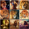 Oil Painting By Numbers Animal Lion Family For Drawing Adult Kit On Canvas With Frame Acrylic HandPainted Paint Home Decoration