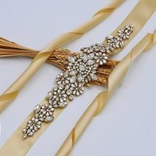 Bride Belt Wedding-Belts Rhinestone Waistband Sash Formal-Accessories Women's Golden