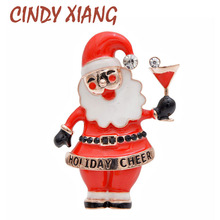 CINDY XIANG Red Color Enamel Christmas Santa Claus Brooch Unisex Festival Brooches Winter New Design Party Accessories 2019