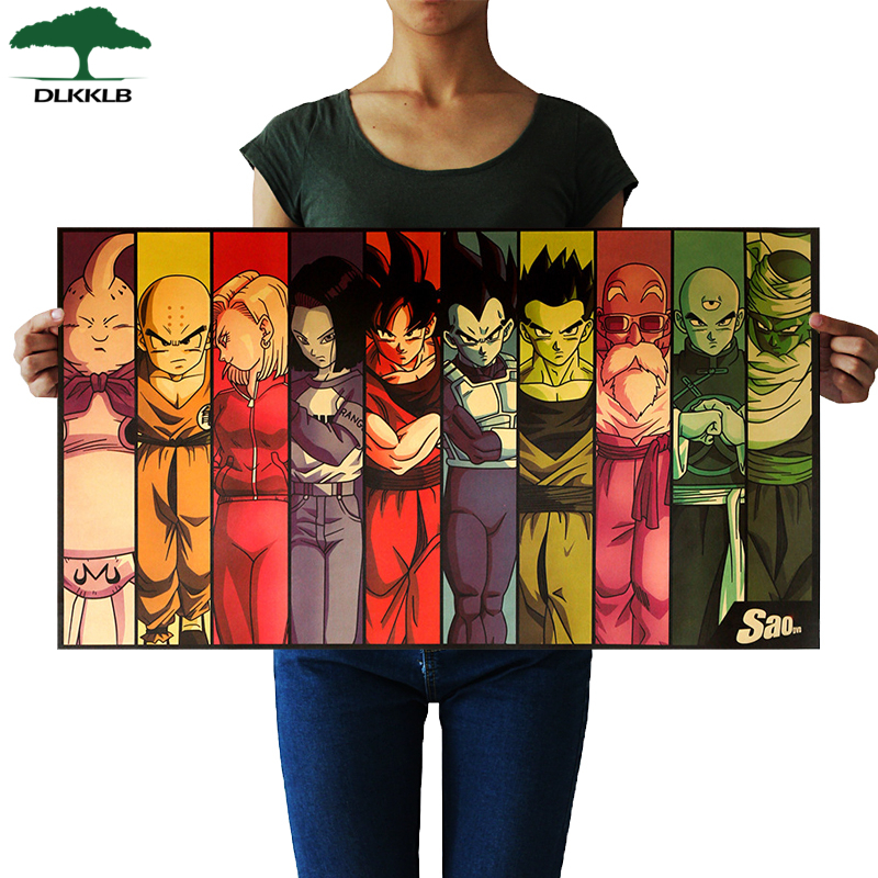 DLKKLB Vintage Cartoon Anime Dragon Ball Poster Bar Kids Dorm Room Home Decor Kraft Paper Painting 70x39cm Decorative Paintings