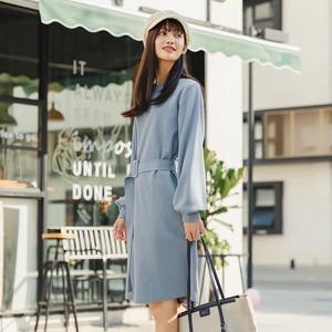 Image 3 - INMAN robe à manches longues, col ras du cou, robe littéraire à manches longues, avec ceinture, couleur Pure, printemps 2020 nouveauté