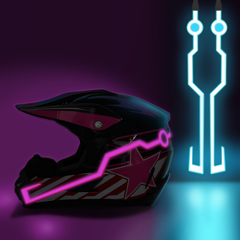 Nuoxintr мотоциклетный шлем сигнал прочный мигающий в полоску ночной мотопробег, гонки шлем комплект водонепроницаемый луч светодиодный свет ...