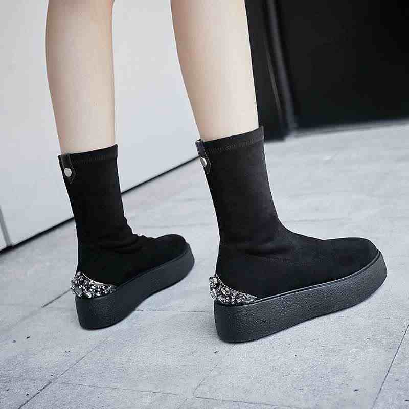 Krazing Pot yumuşak streç akın çizmeler kristal çivili yuvarlak toe yüksek topuklu kalın alt platformu kış kadın orta buzağı çizmeler L58