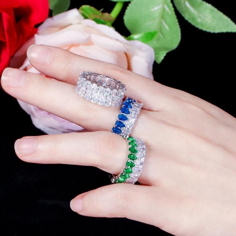 Rulalei tout nouveau bijoux de luxe uniques 925 en argent Sterling Double goutte d'eau AAAAA cubique zircone éternité femmes bague de mariage - 3