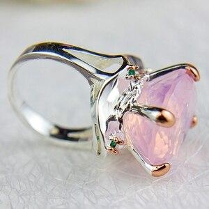 Image 5 - DreamCarnival1989 Pinky Solitaire Ringen Voor Vrouwen Ballet Look Trouwring Twee Tonen Kleur Radiant Cut Cz Vrouwelijke Sieraden WA11713