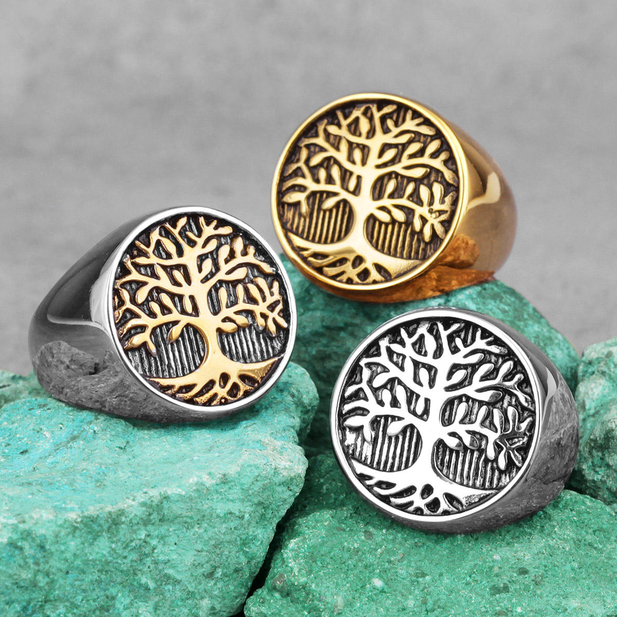 Tree of Life Amulet Stainless Steel Mens Rings Simple Elegant Charm for Male Boyfriend Biker Jewelry Creativity Gift Wholesale