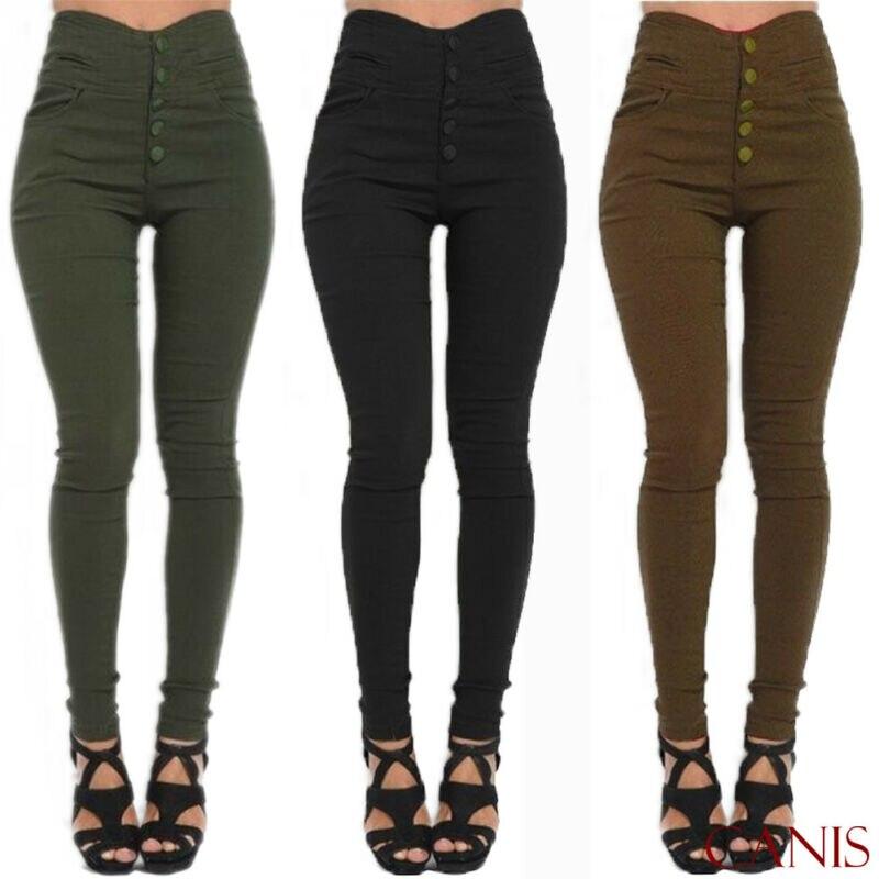 Goocheer 2019 New HOT Women Denim Skinny Jeggings Pants High Waist Stretch Jeans Slim Pencil Trousers Solid Leggings Plus Size