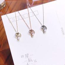 цена 925 Sterling Silver Necklace Woman Ins Ginkgo Biloba Leaves Pearl Pendant Lady's Cross Chain Luxury Apricot leaf Choker Jewelry онлайн в 2017 году
