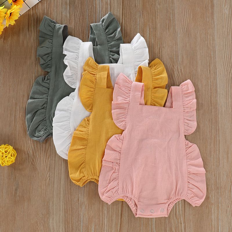 Cotton Baby Girl Clothes Summer Kids Romper Jumpsuit Dusty Pink Playsuit For Newborn