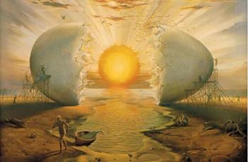 Cool Painting Sunrise by the Ocean  in the Spirit of Dalí Printed on Canvas 1