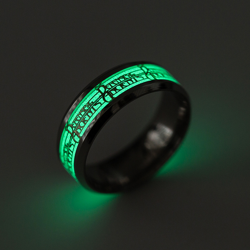 AsJerlya 316L Stainless Steel Anime Game Rings For Men Glow In The Dark Male Ring Charm Halloween DropShipping World Of Warcraft