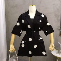 Womens Polka Dot Print Suit Blazer Coat Women Slim Office Lady Blazer Casual Female Elegant Coats
