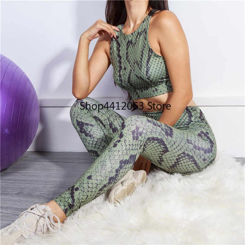 Стильная Спортивная одежда для женщин, 2 предмета, одежда для тренировок, женский спортивный костюм, спортивный костюм, одежда для фитнеса, Женская уникальная змеиная одежда
