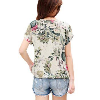 Women's Floral Print Blouses ladies Shirts Summer Tops Casual Blouse Shirt Plus Size 3
