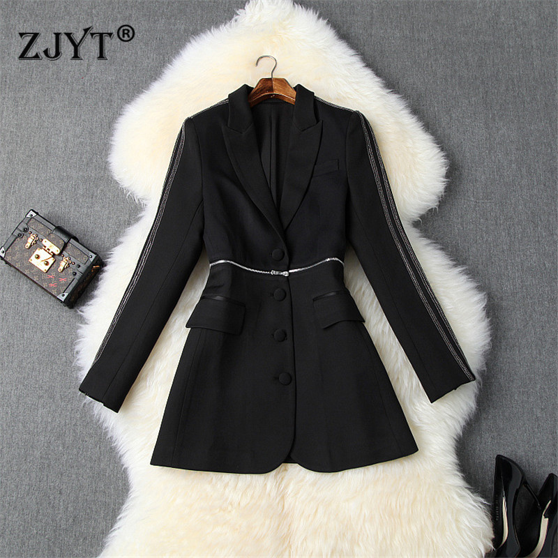 2019 New Designer Autumn Winter Blazer Feminino Long Sleeve Notched Collar Diamonds Office Lady Party Blazers And Jackets Coats