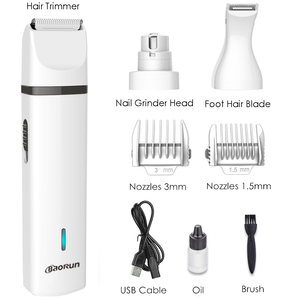 Image 2 - Baorun 3 IN 1 Pet Grooming Machine Dog Cat Hair Trimmer USB Rechargeable Pets Clippers Nail Grinding & Hair Trimmer & Foot Hair