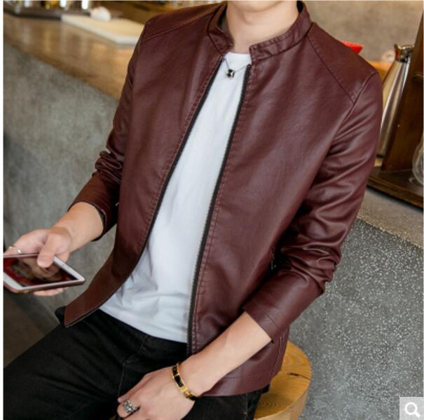 Main Push New Style Large Size High Quality Men Korean-style Slim Fit Leather Coat MEN'S Leather Jacket Long Sleeve Stand Collar