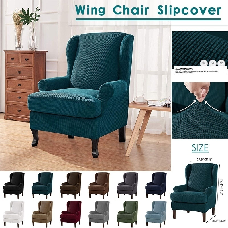 Wing Chair Cover Stretch Wingback Armchair Sofa SlipCover Elastic Furniture Protector 13 Colors