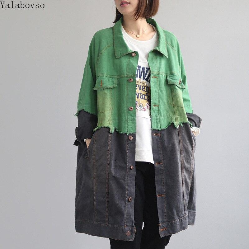 2019 Outono recém-chegados Denim Lavado das Mulheres Soltas Tamanho Grande Casaco Longo em preto verde cor patched casual Longo casaco A0B2Z40