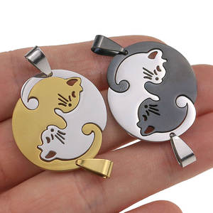 1pcs stainless steel Cute lovely cat charm Necklace Lover Girlfriend Gift Set Valentine's Day For Women Jewelry Paired Pendant