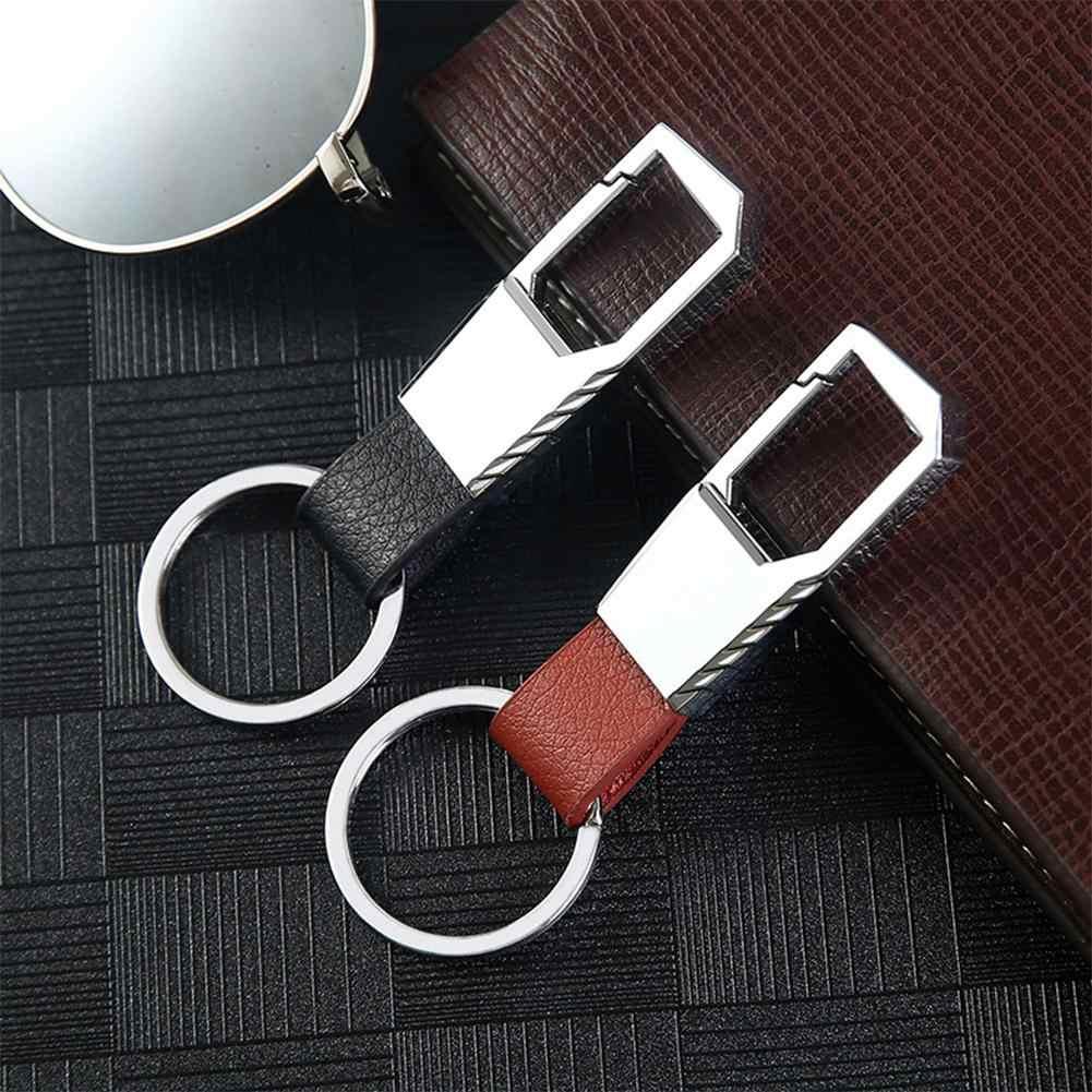 1Pc moda Metal mężczyźni skórzany brelok do kluczyków samochodowych breloczek na klucze ze schowkiem na pilota łańcuch dla Ford Toyota dla Lada samochód hyundai Auto akcesoria