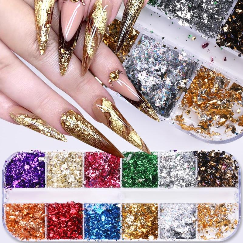 12 Colors Gold Silver Irregular Aluminum Foil Paper Nail Art Sticker 3D Glitter DIY  UV Gel Polish Nail Decoration Tools