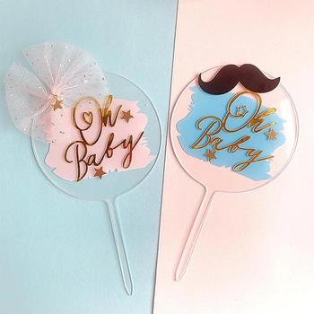 Oh Baby Acrylic Cake Topper Blue Birthday Cake Topper Insert Card Wedding Birthday Party DIY Cake Decoration image