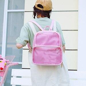 Image 3 - Yaz moda kadınlar sırt çantası şeffaf öğrenci çantaları yüksek kaliteli şeffaf çok yönlü sırt çantaları kadın deri çanta bayan seyahat çantası