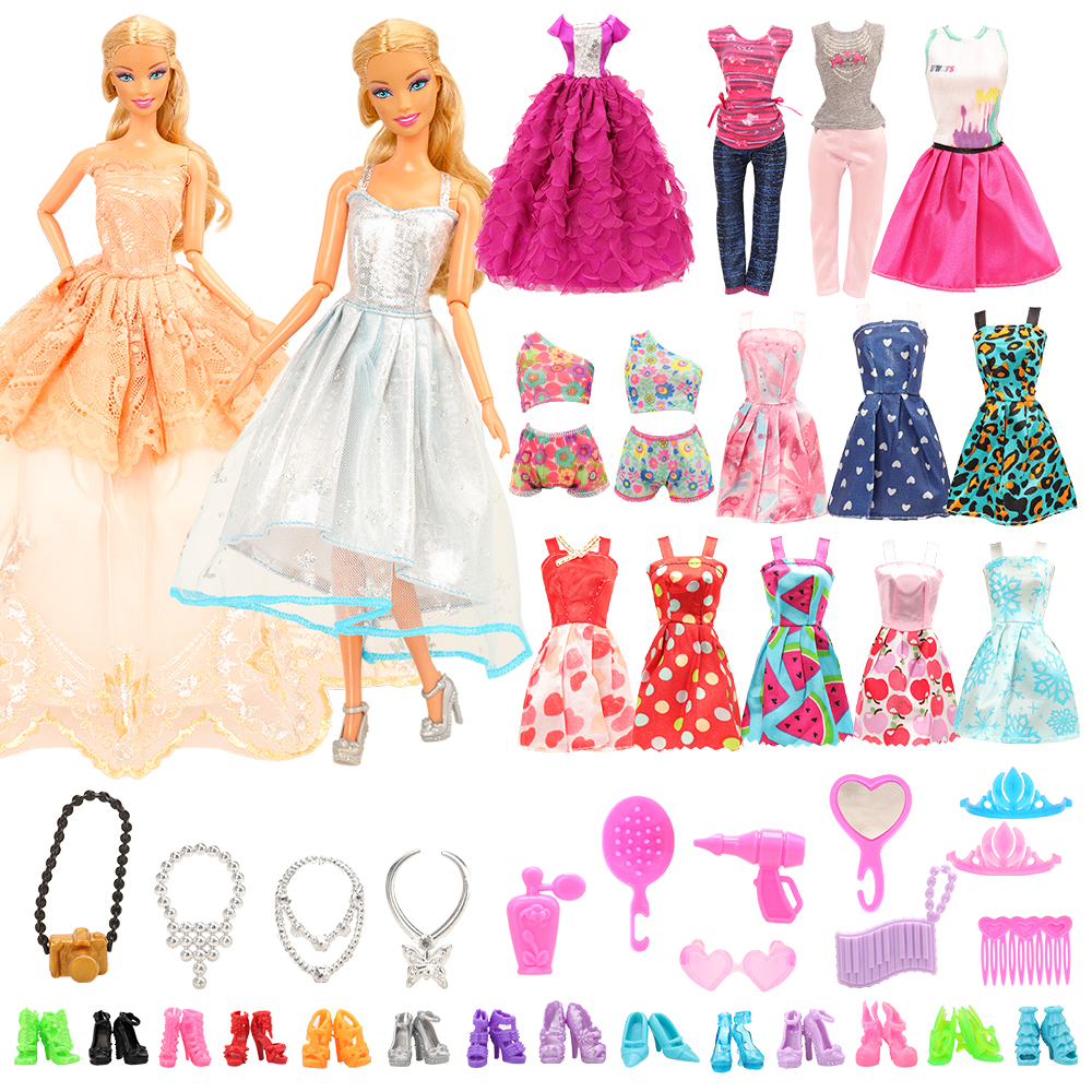 Clearance SaleFashion Dollhouse Furniture 73 Items/Set=Wardrobe +16 Clothes +10 Shoes +10 Hanger +10╪