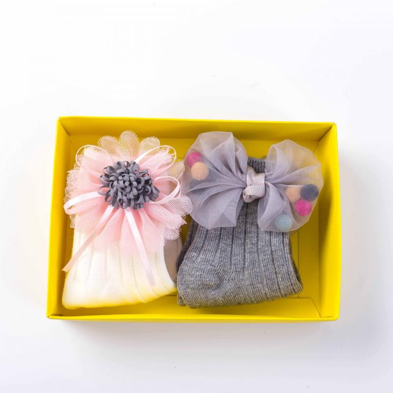 Купить с кэшбэком 2 Pair/Set Baby Cotton Socks Fashion Carthon Boxed Boutique Doll Socks Double Needle Combed Baby Girl Socks 0-4T