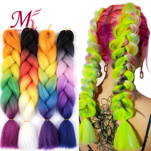 Mokogoddess Ombre Jumbo Hair-Extensions Braiding Crochet Colored Synthetic 24inch Heat-Resistant