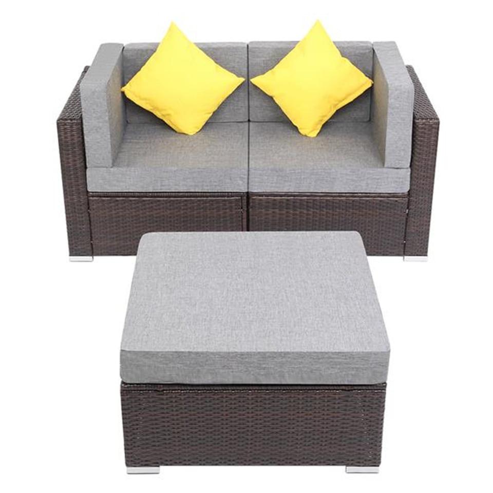 12 Pieces Patio PE Wicker Rattan Corner Sofa Set Garden Sofa Outdoor Sofa  Leisure Chair