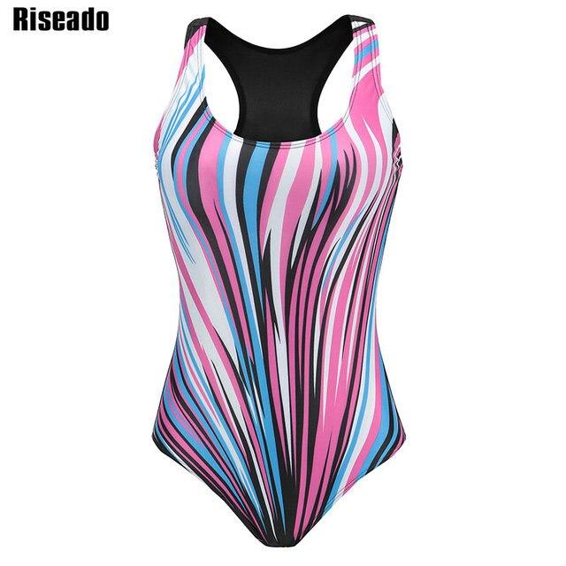 Riseado Sport One Piece Swimsuit Competitive Swimwear Women 2020 Digital Printing Racer Back Bathing Suits Plus Size XXXL
