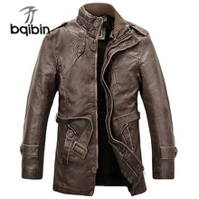 Leather Jacket Men Long Wool Stand Collar Coats Jaqueta De Couro Men's Pu Leather Motocycle Jackets Outwear Trench Parkas #860(China)