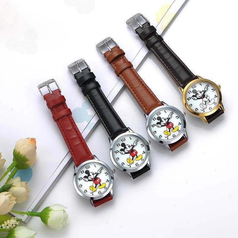 Relógio de Quartzo Relógio de Couro Original Disney Feminino Redondo Autêntico Mickey Mouse Cutie Amor Moda Senhoras Banda Relógios Melhor Presente Mod. 160935