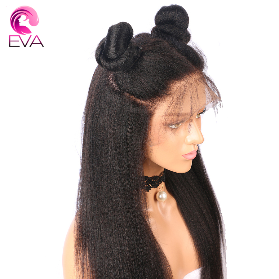 Eva Glueless Yaki Straight 13x6 Lace Front Human Hair Wigs Pre Plucked With Baby Hair Brazilian Remy Hair Wigs For Black Women