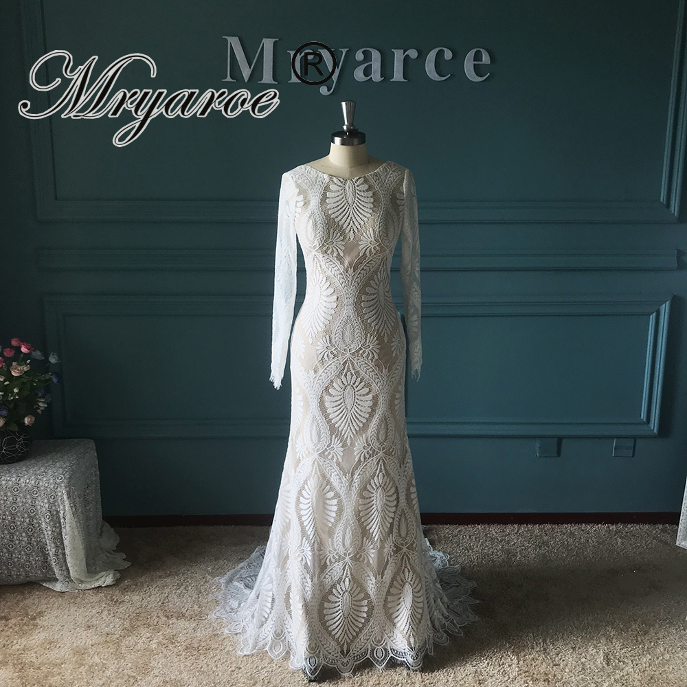 Mryarce Amazing French Lace Bohemian Wedding Dress Unique Bride Long Sleeve Open Back Bridal Gowns