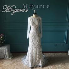 Mryarce Amazing French Lace Bohemian Wedding Dress Unique Bride Long Sleeve Open Back Bridal Gowns