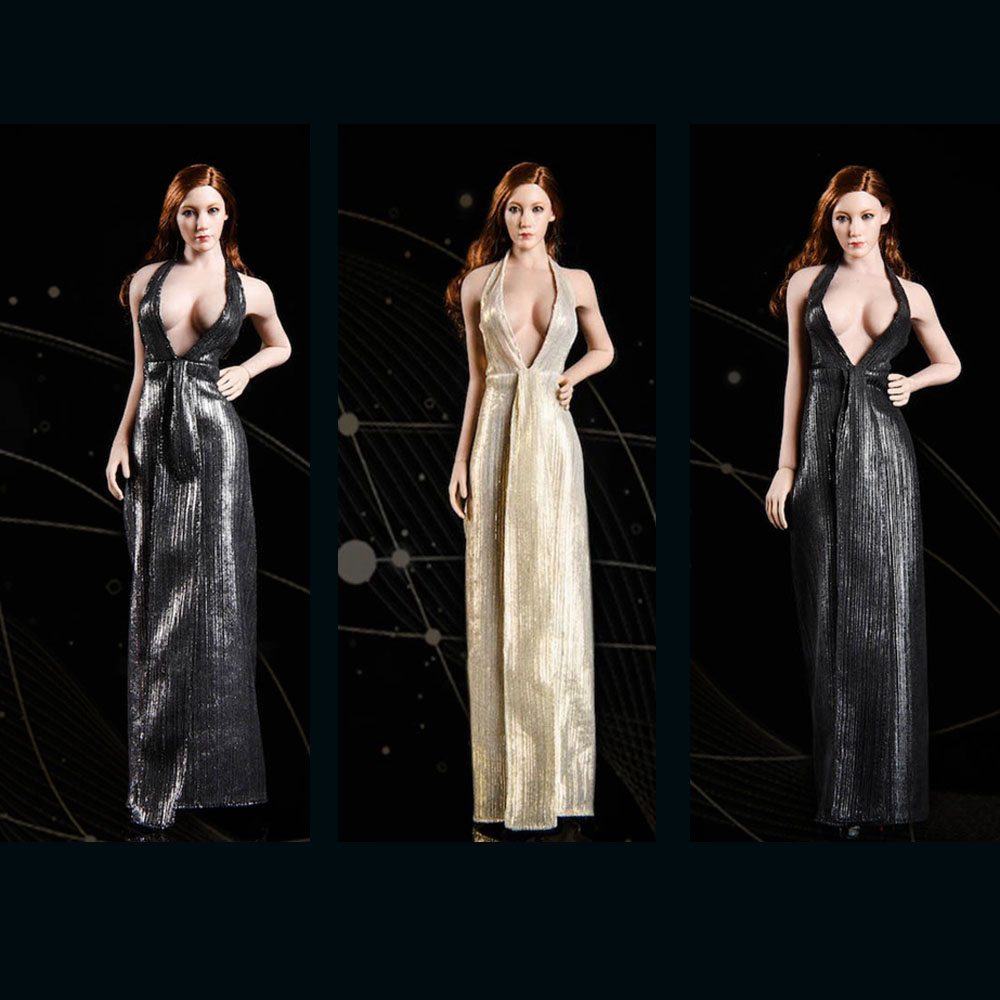 New 1/6 Female Halter Sling evening Marilyn dress Clothing Set 19XG52 3 colors VSTOYS Women dress for 12 inches Figure Model