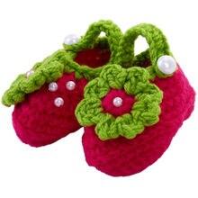 Вязаные носки для новорожденных девочек с жемчужинами и цветами; носки для новорожденных; обувь для новорожденных; Возраст 0-12 месяцев(тип 4