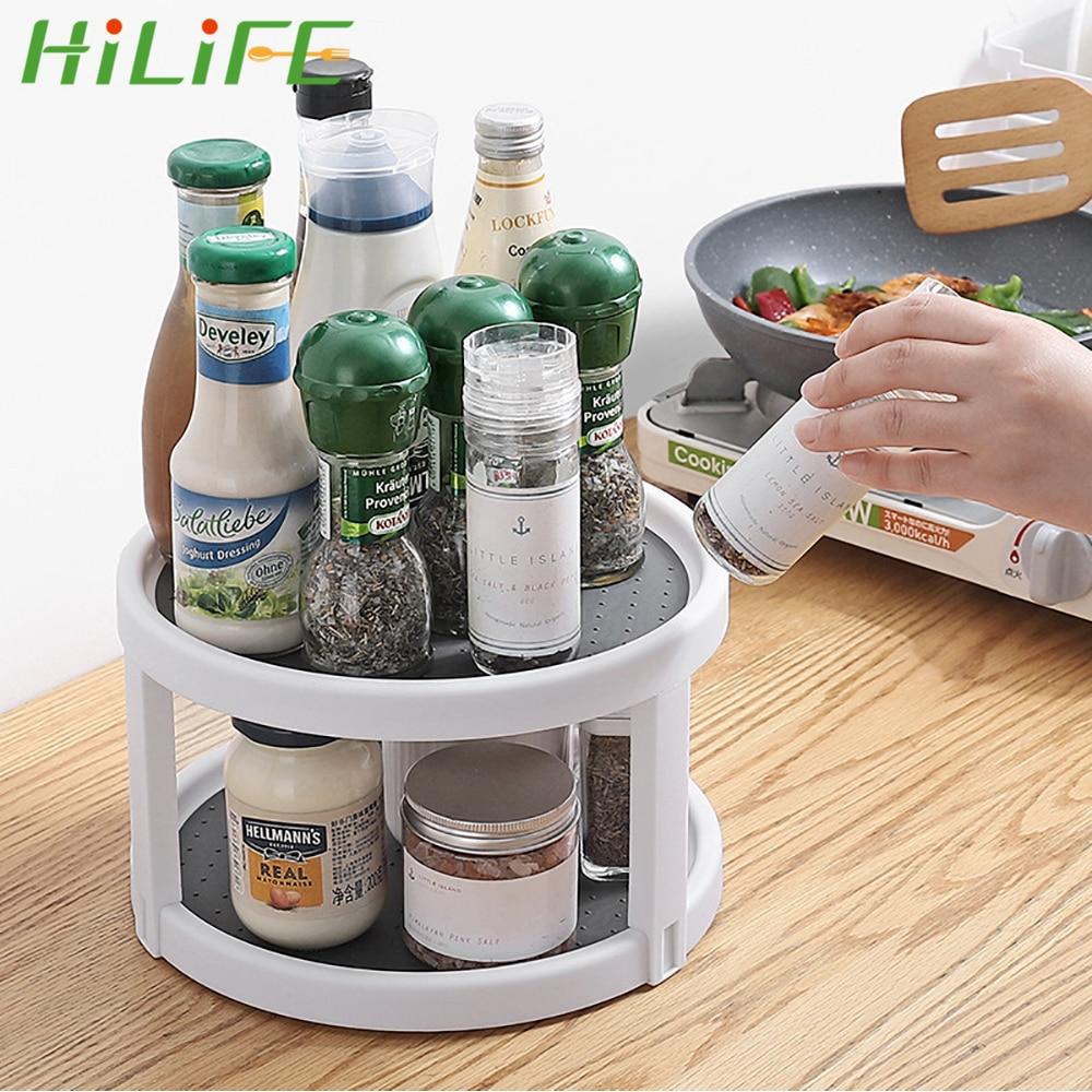 HILIFE Rotating Organizer Round Shelf Condiment Storage Rack Kitchen Storage Tray Pantry Cabinet Turntable Spice Rack 2 Tier
