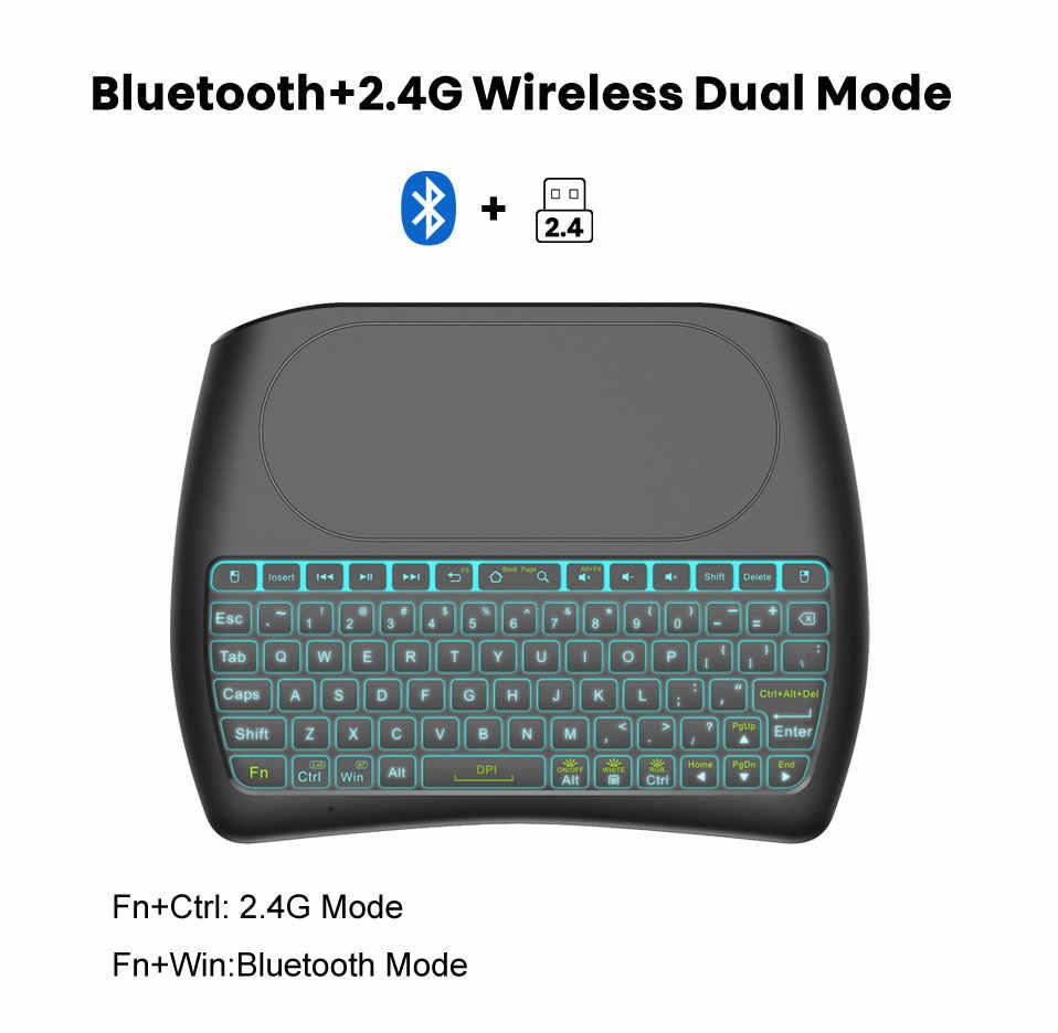 Bluetooth Toetsenbord 7 Kleuren Backlit Engels Russisch Spaans 2.4Ghz Wireless Mini Keyboard Air MouseD8 Pro 2.4 Voor Android Tv doos