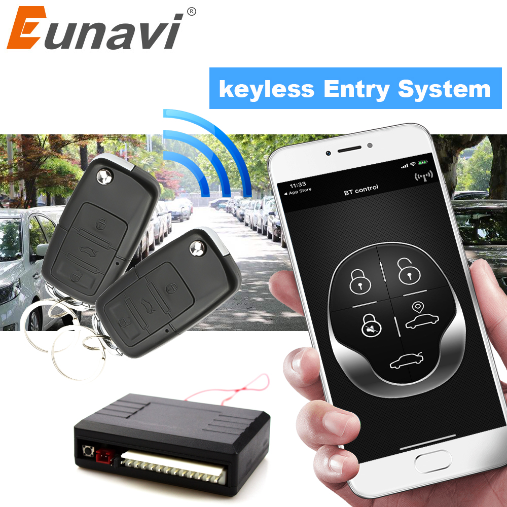 Eunavi Universal Car Alarm System Auto Door Remote Central Control Lock Locking Smart Mobile Phone Control Keyless