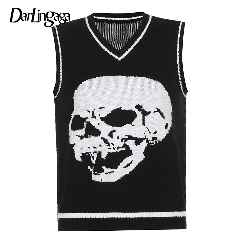Darlingaga Gothic Skull Print Autumn Winter Woman Sweaters Fashion Loose Y2K Pullover Harajuku Knitted Sweater Ladies Pull Femme 11