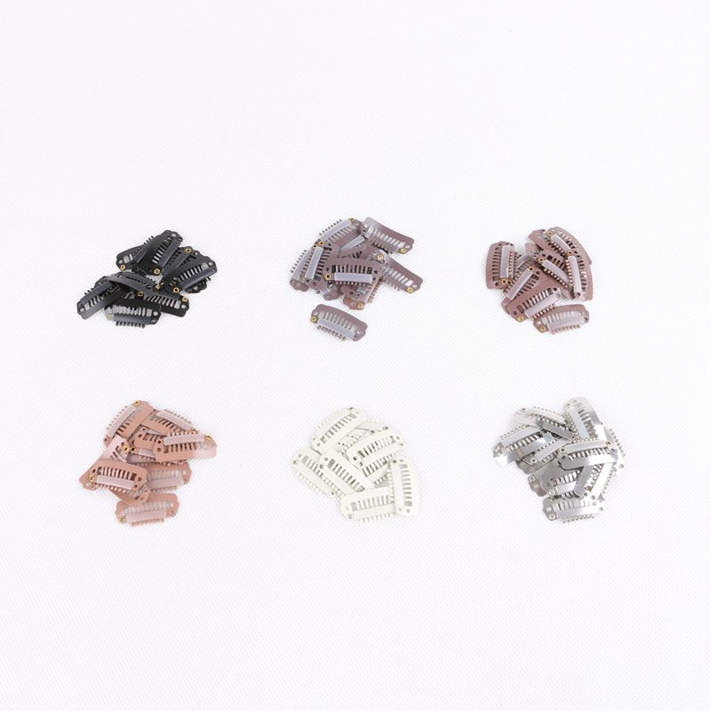 1000pcs 2.3cm 7 teeth Metal Snap Clips for Hair Extensions Clip-on Wig Wigs Weft Hairpiece I Shape Metal Clips