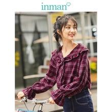 INMAN Spring Autumn 100%Cotton Retro Plaid Lace Turn Down Collar Flare Sleeve Sweet Cute Women Blouse