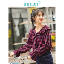 Inman primavera outono 100% algodão retro xadrez laço turn down collar flare manga doce bonito blusa feminina