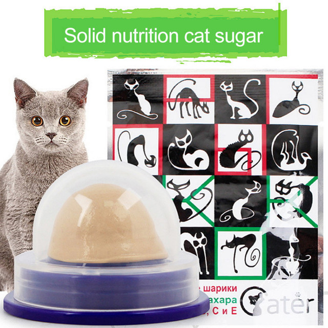 Healthy Cat Snacks Catnip Sugar Candy Licking Solid Nutrition Gel Energy Ball Toy for Cat Increase Drinking Water Help Digestion